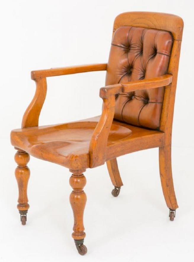 Victorian Oak Desk Chair Circa 1870 Arm Chairs