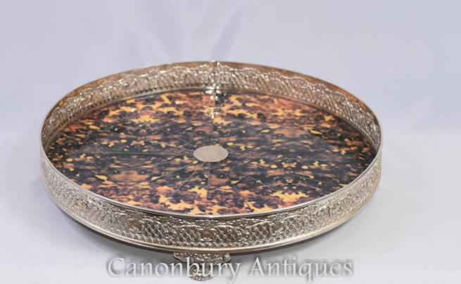 Victorian Silver Plate Serving Tray Faux Tort
