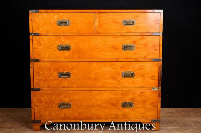 Walnut Campaign Chest of Drawers - Colonial Commode