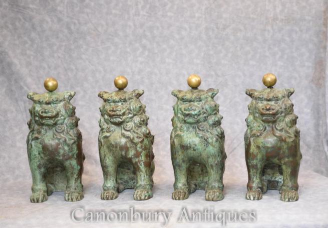 4 Antique Chinese Bronze Foo Dogs Guardian Lions 1880