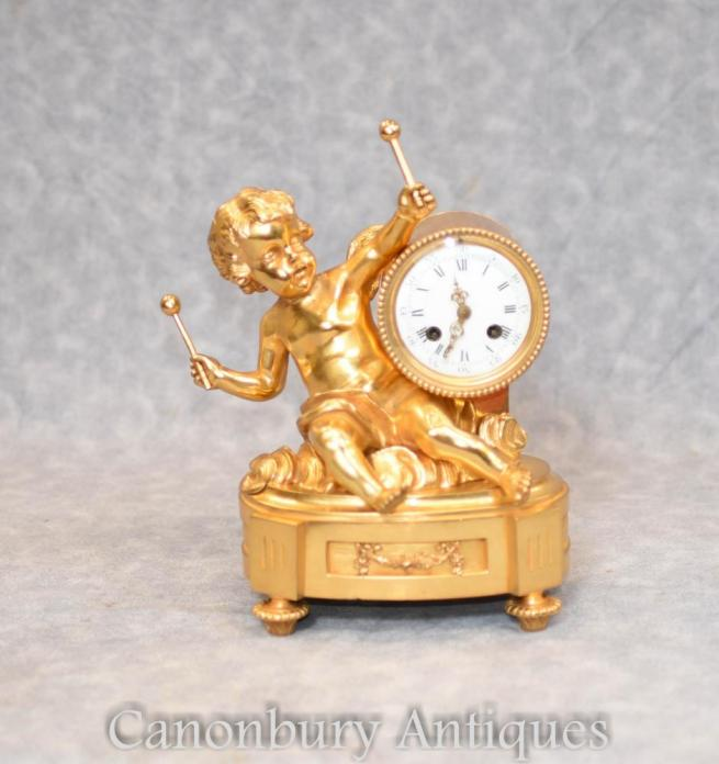 Antique French Empire Gilt Cherub Mantle Clock Circa 1890