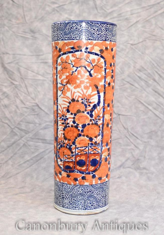 Antique Imari Porcelain Vase Urn Umbrella Stand Circa 1900