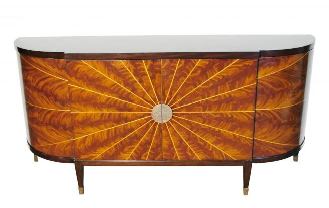 Art Deco Sideboard Mahogany and Maple Star Inlay
