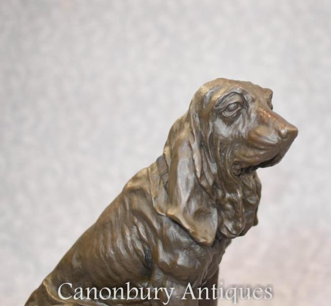 Bronze Beagle Dog Statue on Marble Base Beagles