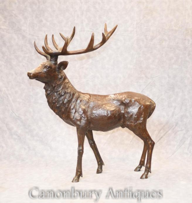 Bronze Scottish Stag Statue Casting - Elk Deer Figurine