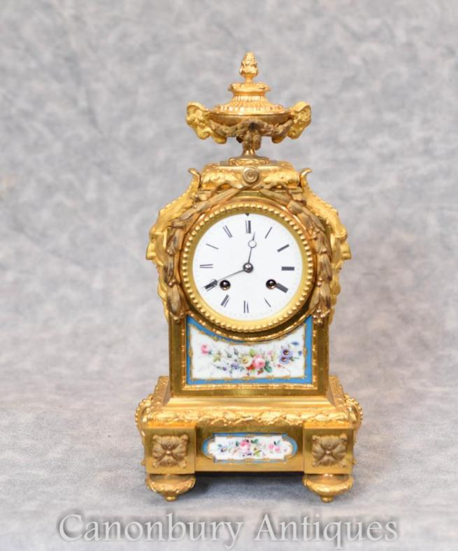 French Empire Gilt Mantle Clock Sevres Plaques