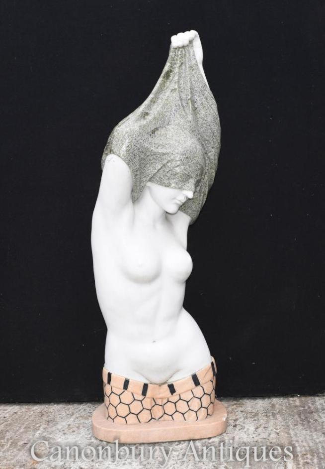 Italian Marble Bust Undressing Semi Nude Lady Figurine
