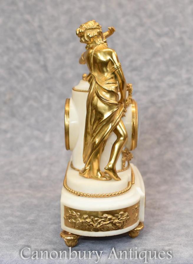 Louis XVI Gilt Marble Mantle Clock Cherubs