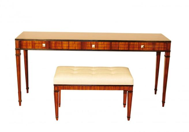 Mid Century Modern Console Table Vanity and Stool Set Santos