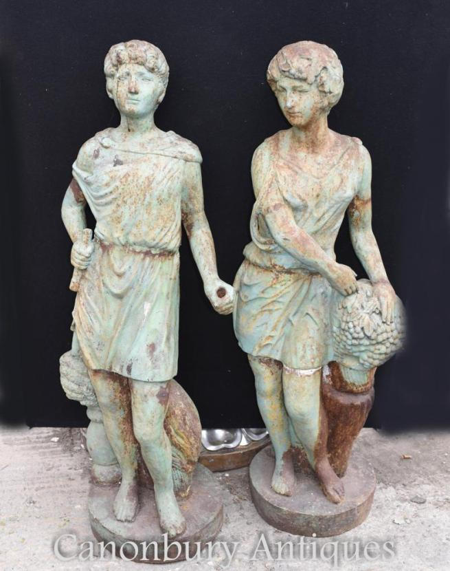 Pair Antique Victorian Cast Iron Roman Garden Statues Figurines Circa 1860