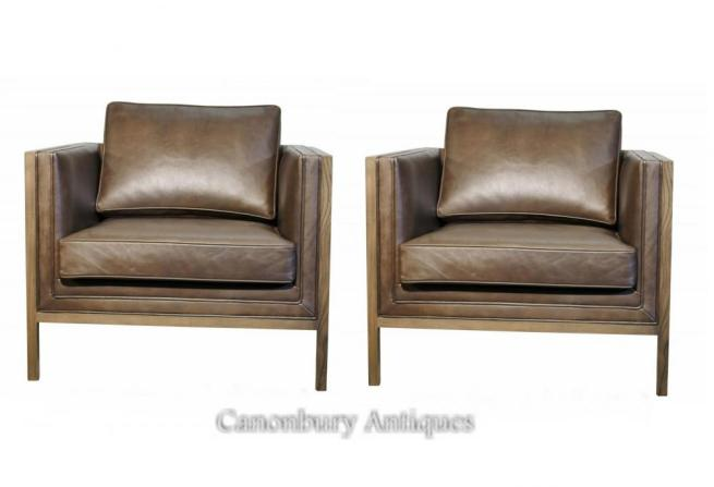 Pair Art Deco Ash Club Chairs Arm Brown Leather