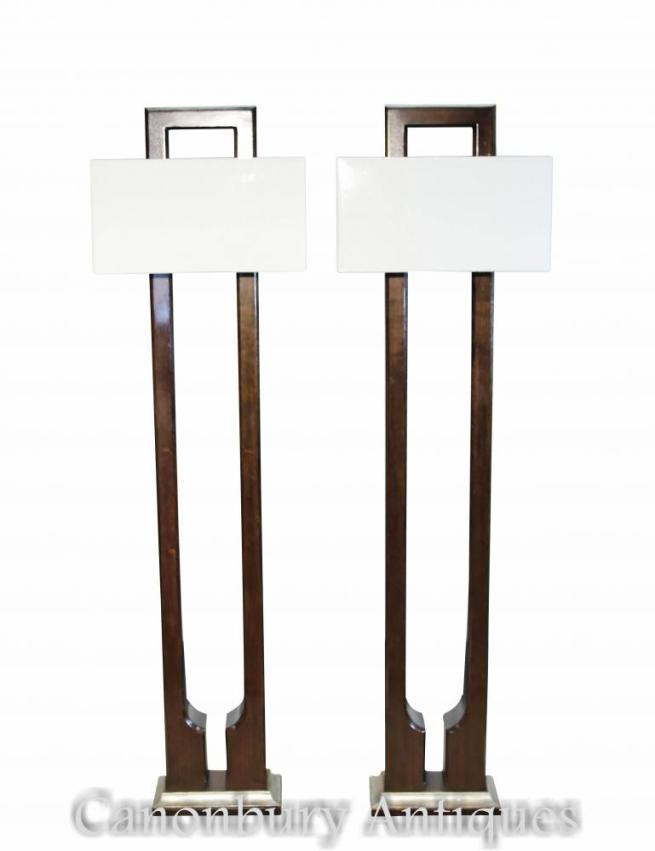 Pair Art Deco Floor Lamps Mahogany and Walnut