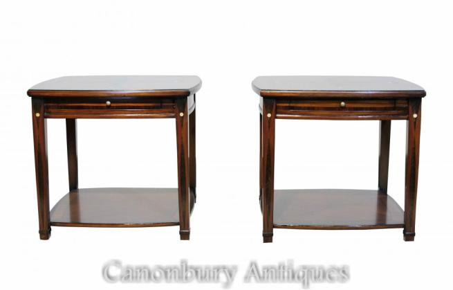 Pair Art Deco Side Tables Marquetry Inlay
