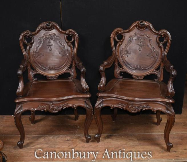 Pair Art Nouveau French Hard Wood Arm Chairs