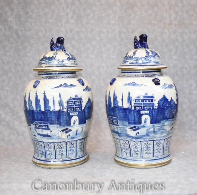 Pair Blue and White Porcelain Lidden Urns Chinese Kangxi Jars