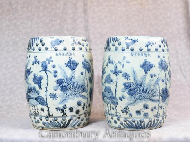 Pair Chinese Blue and White Porcelain Garden Seats Stools Nanking