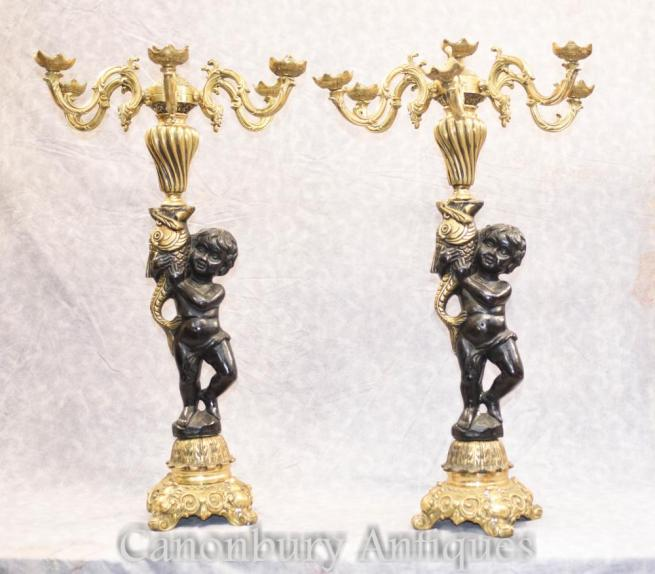 Pair French Gilt Bronze Cherub Candelabras Putti