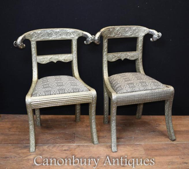 Pair French Regency Silver Plate Chairs Seats Rams Heads