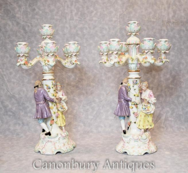 Pair German Meissen Porcelain Figurine Candelabras Candles