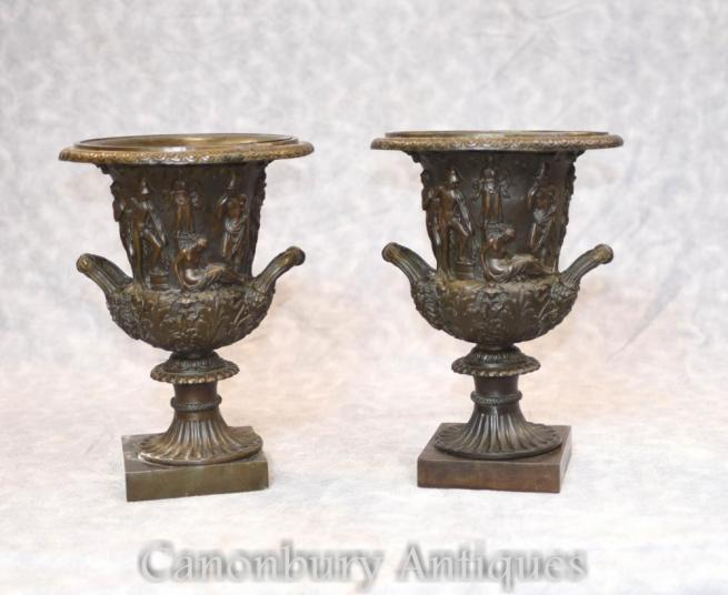 Pair Italian Bronze Campana Urns Grand Tour Relief