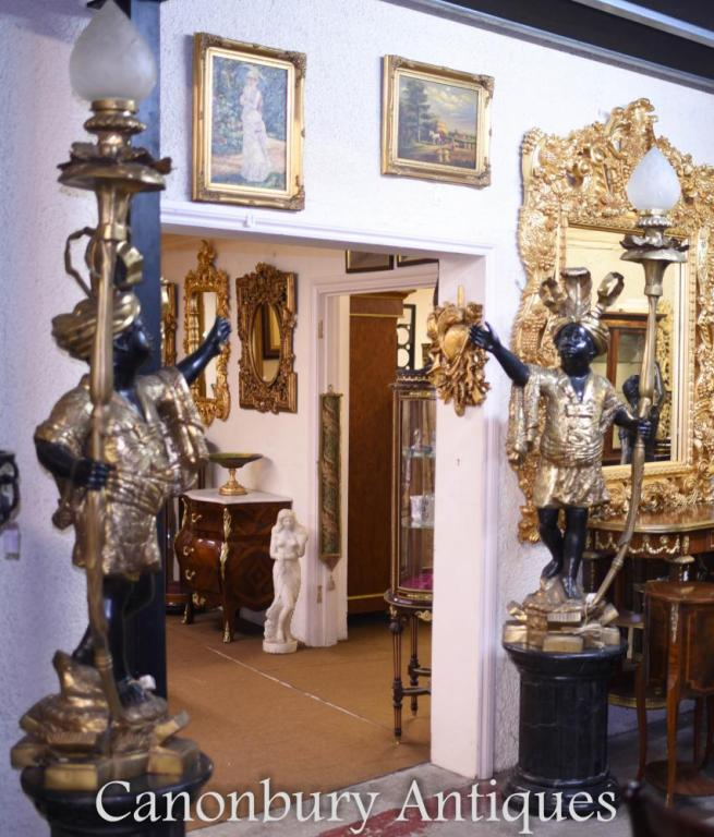 Pair of Bronze Dwarf Blackamoor Statues Lights Candelabras