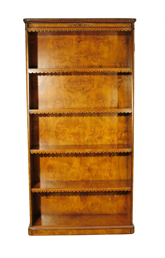 Pair Regency Open Front Bookcases in Walnut