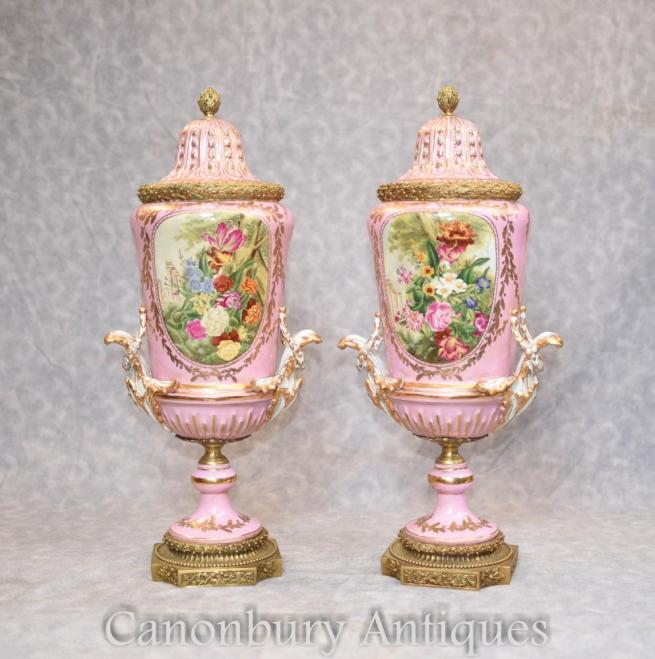 Pair Sevres Porcelain Floral Vases Urns