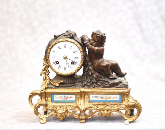 Antique French Mantle Clock - Bronze Cherub and Sevres Porcelain Plaques