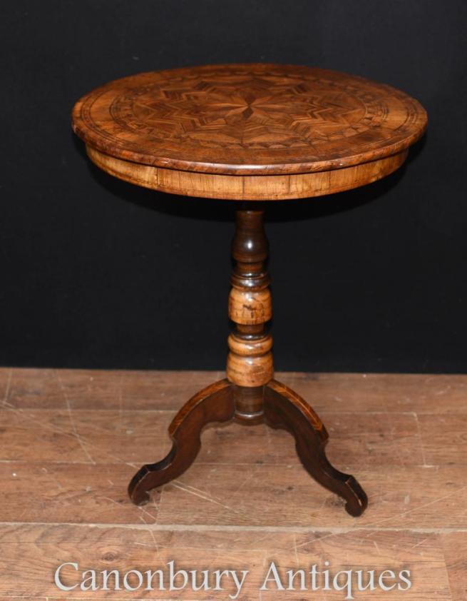 Antique Italian Walnut Sorento Inlay Side Table Circa 1890