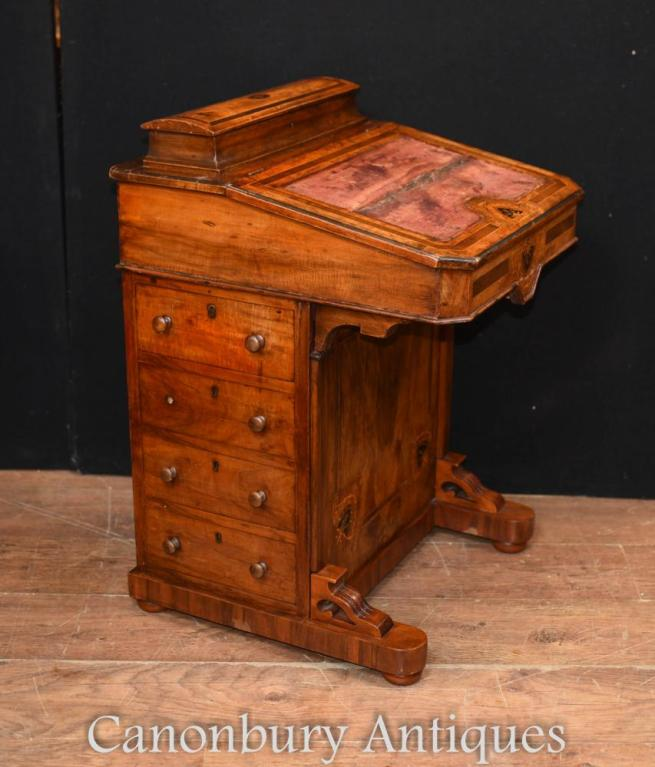 Antique Victorian Davenport Desk Walnut Chests