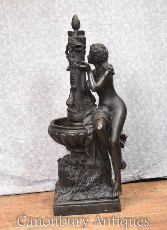 French Bronze Fountain Female Figurine Architectural Garden Sculpture