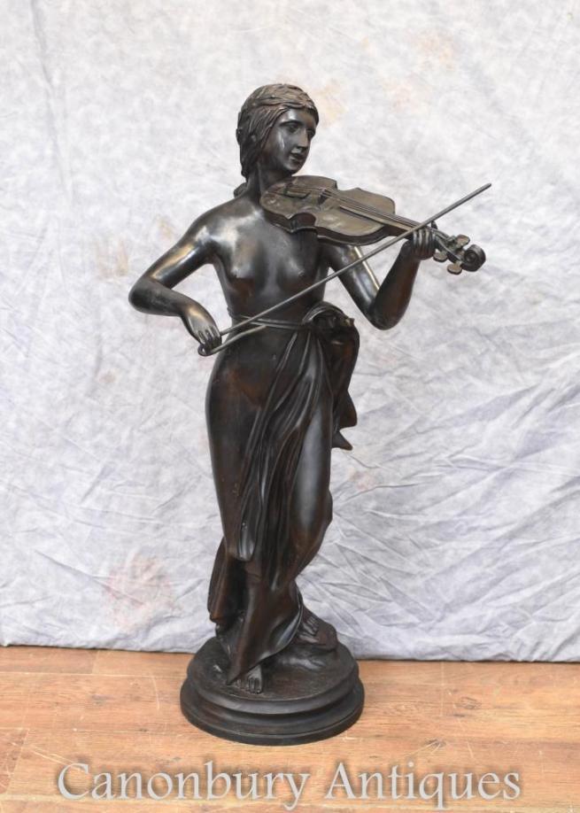 French Bronze Semi Nude Female Fiddle Player Violin Statue