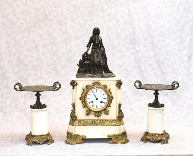 French Empire Marble Ormolu Mantle Clock Set Bronze Figurine