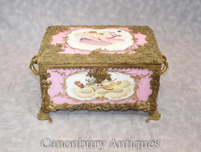 French Sevres Porcelain Cherub Jewellery Box Trinket Case