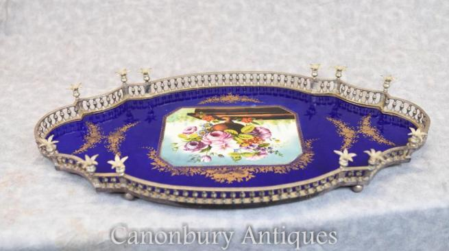 French Silver Plate Sevres Porcelain Floral Tray