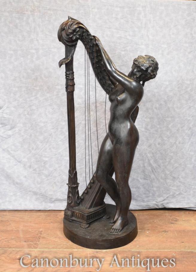 Italian Bronze Nude Female Harp Player Classical Art