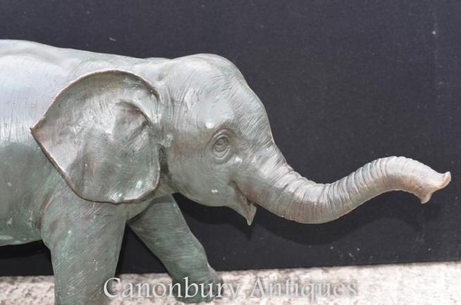 Large Bronze Elephant Casting - Garden Statue