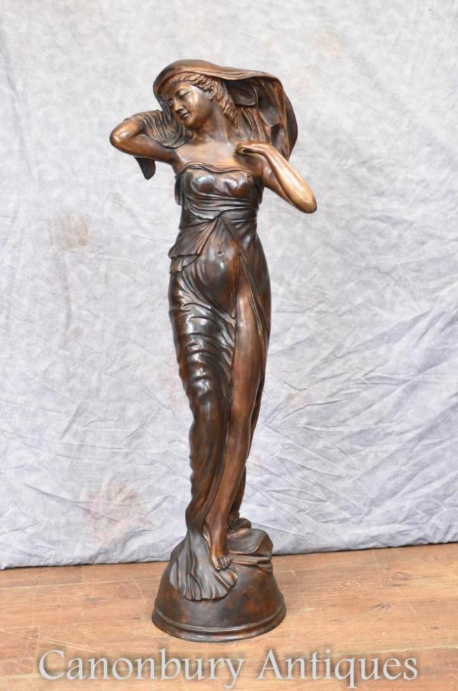 Large French Art Nouveau Bronze Female Statue Figurine