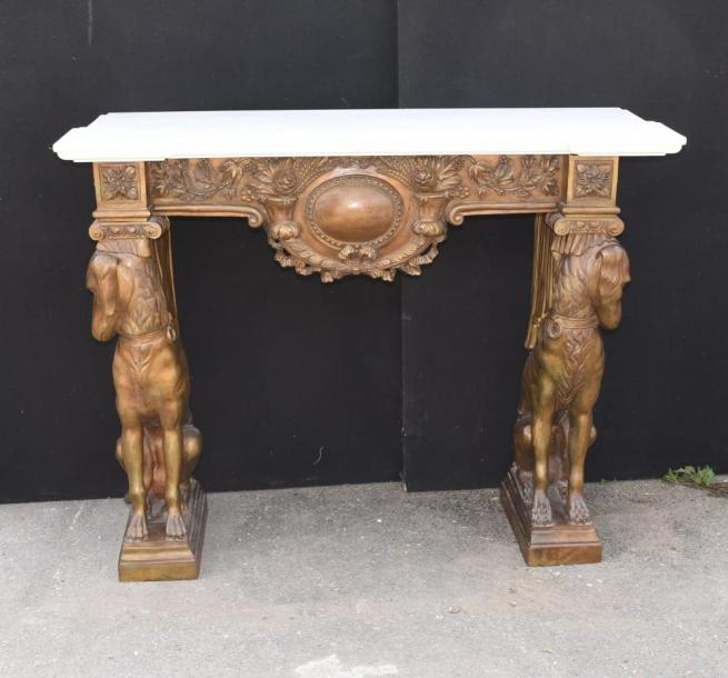 Large French Bronze Greyhound Fireplace Mantle Fire