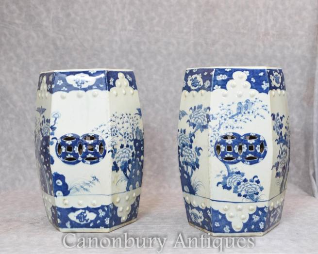 Pair Chinese Blue and White Porcelain Garden Seats Ming