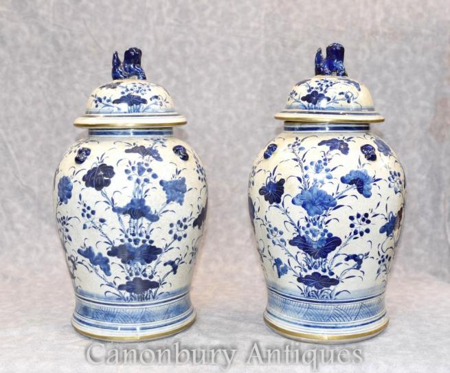 Pair Chinese Blue and White Porcelain Ginger Jars Vases Ming