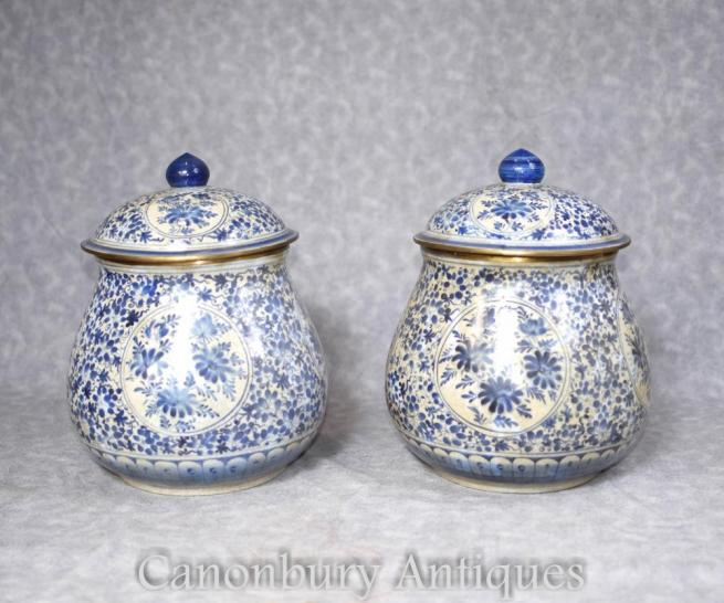 Pair Chinese Blue and White Porcelain Lidded Urns Vases