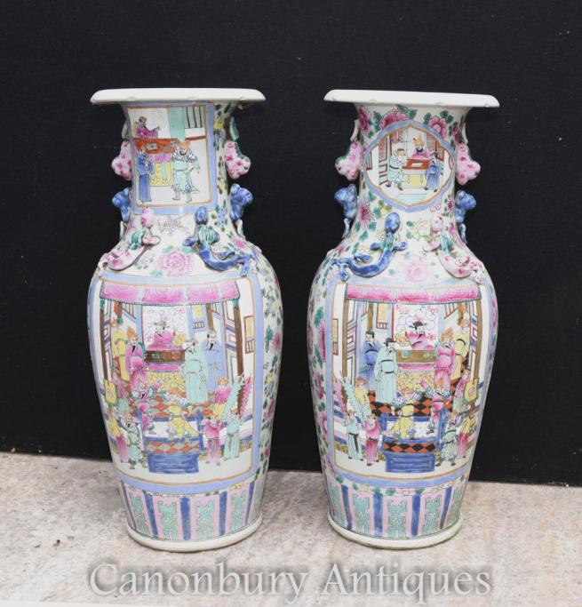 Pair Chinese Canton Porcelain Vases Cantonese Urns