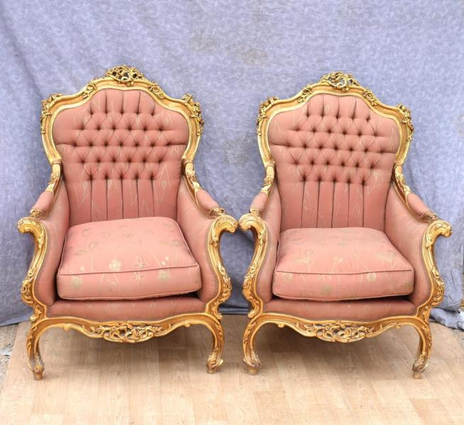 Pair French Empire Gilt Arm Fauteuils