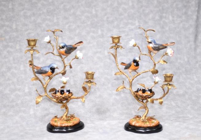 Pair French Ormolu Bird Candelabras Porcelain Encursted Candles
