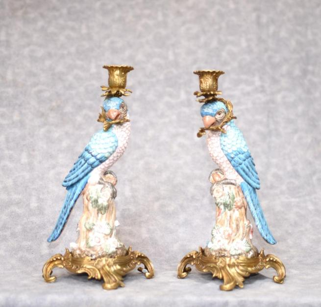 Pair French Porcelain Blue Parrot Candle Sticks Candelabras Bird