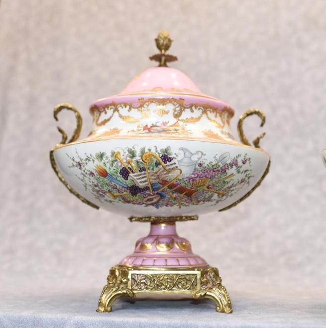 Pair French Sevres Porcelain Lidded Floral Urns Vases