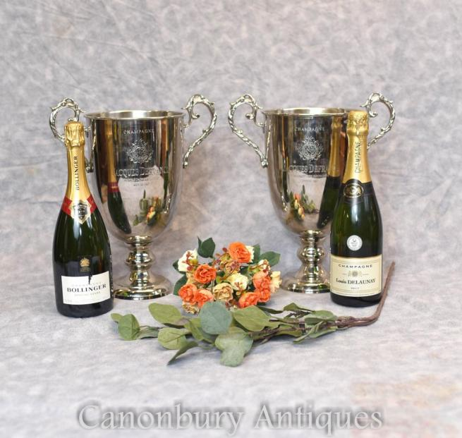 Pair French Silver Plate Champagne Ice Coolers Buckets Trophy