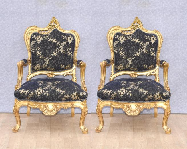 Pair Louis XVI Gilt Arm Chairs Fauteuils