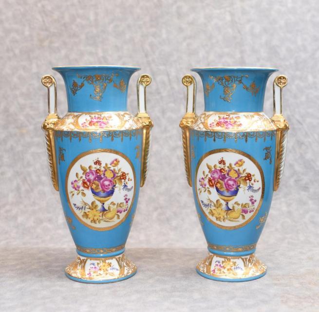 Pair Paris Sevres Floral Porcelain Vases Urns